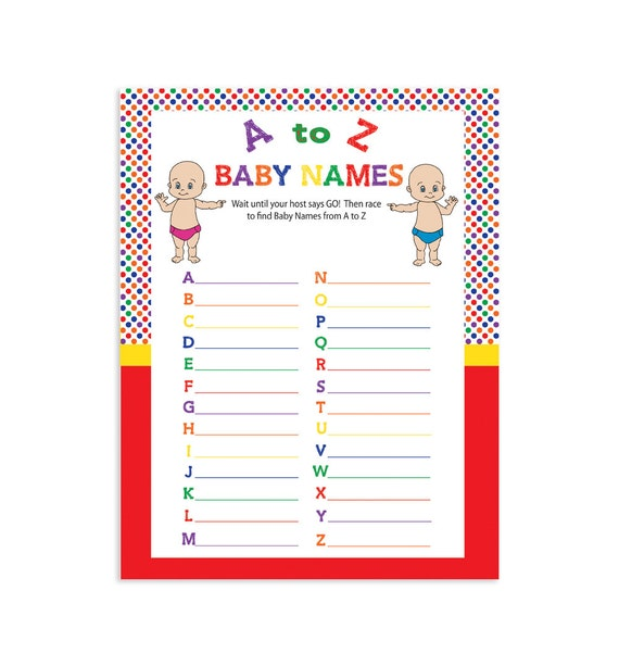 printable baby shower game baby names by thevintagepen on etsy