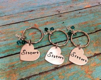 Sisters Hand Stamped Custom-Personalized-Keychain-Mom-Nana-Dad-Friend Optional Swarvoski Birthstones