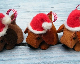 Felt Christmas Dogs - DIY pattern