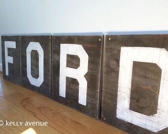 "4 LARGE WOOD LETTERS- Custom 13"" Letters Wood- Alphabet Letter Decor"