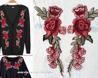 1 Pair Sabby Chic Red Rosy Green Tree Flower Lace Appliques Embroidery Venise Lace Patch Sewing on for Costume Design