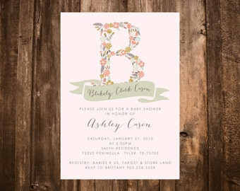 Shabby Chic Baby Shower Invitation, Floral Letter; Printable or set of 10