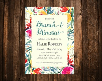 Brunch & Mimosas Bridal Shower Invitation; Watercolor Floral; Printable or set of 25