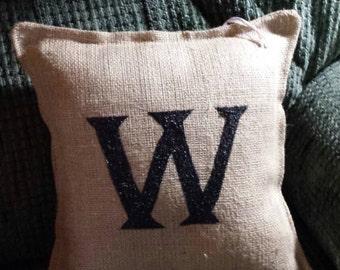 Monogram Burlap Pillow
