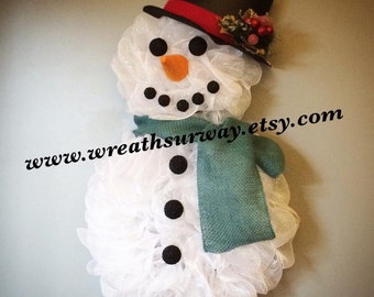 Deco Mesh Snowman Body Wreath with Hat and Scarf
