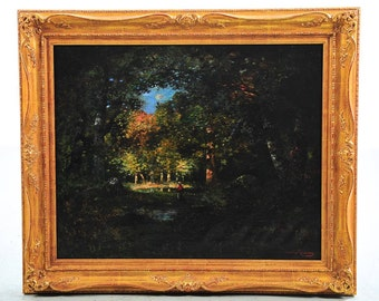 """Female in the Forest """"Gorgeous 19th c. Barbizon School""""Oil Painting by Camille Magnus"""