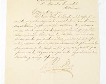 "Porfirio Diaz ""Mexican Revolution President""Authentic 1906 Signed Letter"