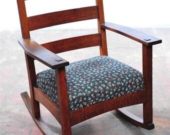 Mission Oak Beautiful original 1910 Arts & Crafts Rocking Chair-NICE!!