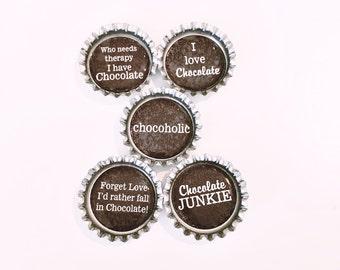 Chocoholic Bottle Cap Magnet Set of 5