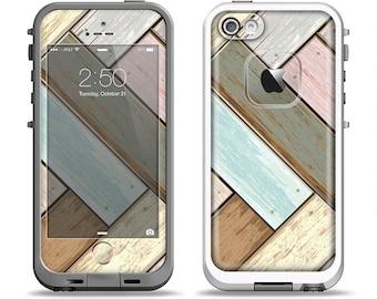 The Zigzag Vintage Wood Planks Apple iPhone LifeProof Case Skin Set