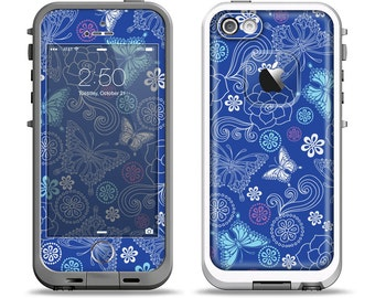 The Butterfly Blue Laced Apple iPhone LifeProof Case Skin Set