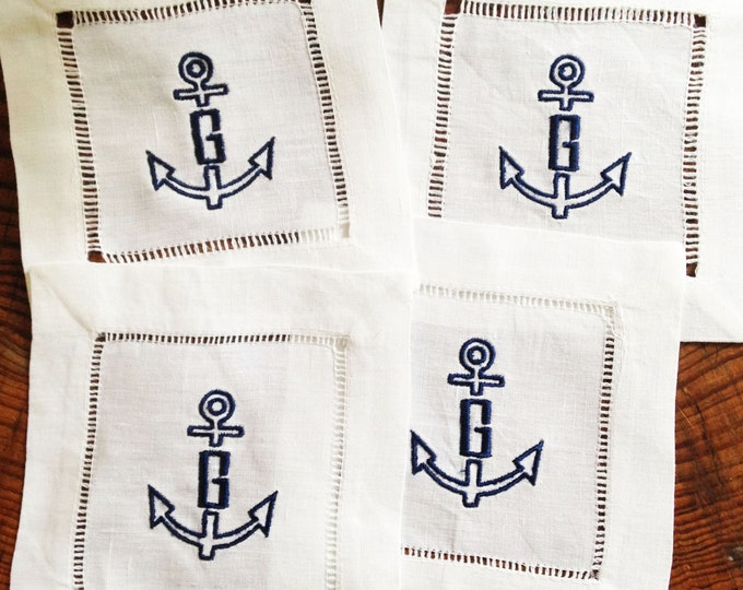 Featured listing image: Monogram Hemstitch Cocktail Napkins Anchor / Monogram Gift - Set of 4