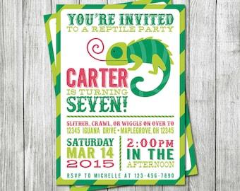 Reptile Birthday Invitation - DIGITAL FILE - Lizard Invitation - Reptile Birthday Party Invite - Lizard Birthday Invitation - Reptile Invite