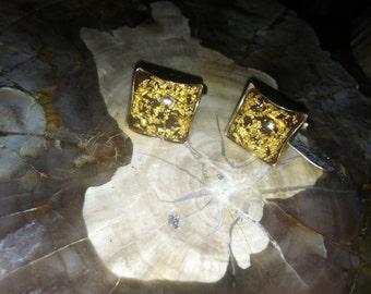 Vntg REAL GOLD Fleck Cufflinks