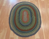 Vintage Braided Rug 3' x 3' 8 Hand Woven Wool Area Rug