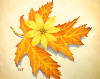 Original art - pastel painting of a maple leaf and a coreopsis flower.  Botanical art.