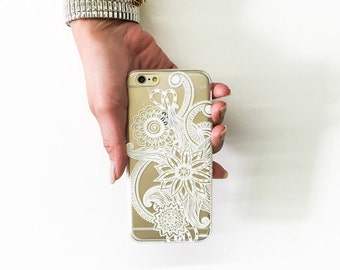 "Clear Plastic Case Cover for iPhone 6 (4.7"") Mehndi Henna"