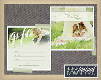 Photography Gift Card - Photographer Gift Certificate - Photoshop Template Photography Promo - INSTANT DOWNLOAD