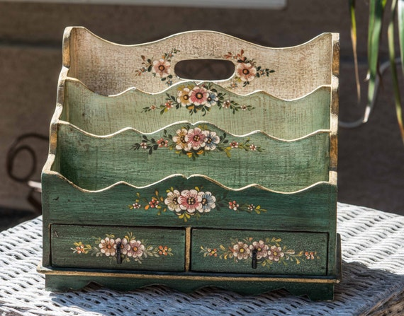 reserved gorgeous vintage letter box wood letter organizer bill organizer wood painted