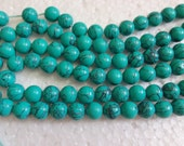 """Sea Green Color Turquoise Round Beads - full strand 16"""" 6mm"""
