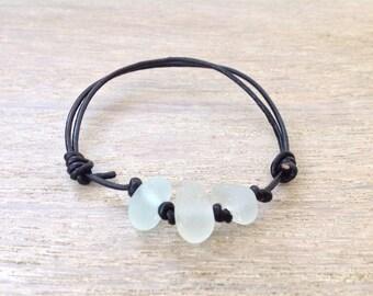 Natural sea glass, black leather bracelet, knotted leather cord, beach glass bracelet, sea glass bracelet, mens jewelry, mens bracelet