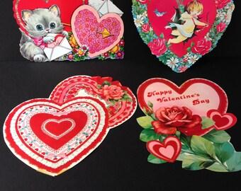 Vintage Die Cut Valentine's Day Decorations, Set of 4