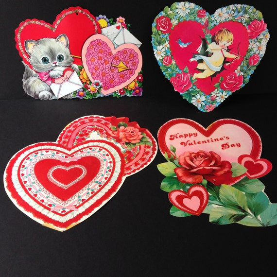 Vintage Die Cut Valentine's Day Decorations Set of 4