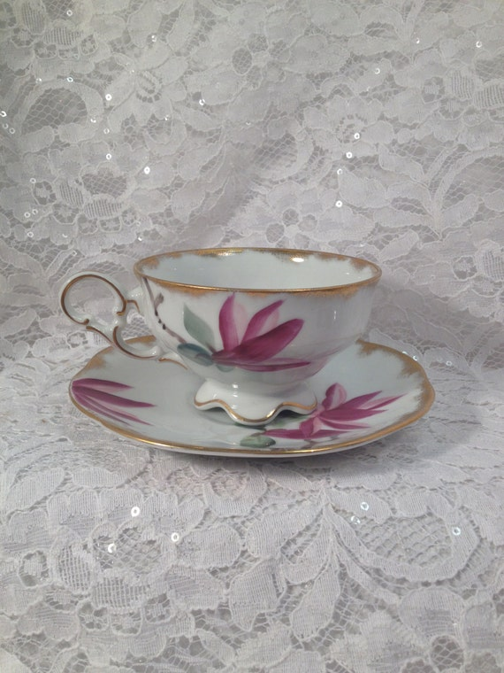 Vintage Lefton Hand Painted Bone China Tea Cup And Saucer