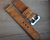 24mm vintage ammo watch band - Handmade vegetable tanned leather watch strap