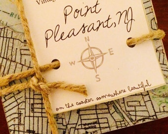 Point Pleasant New Jersey Vintage Map Coaster Set -  Free Shipping!
