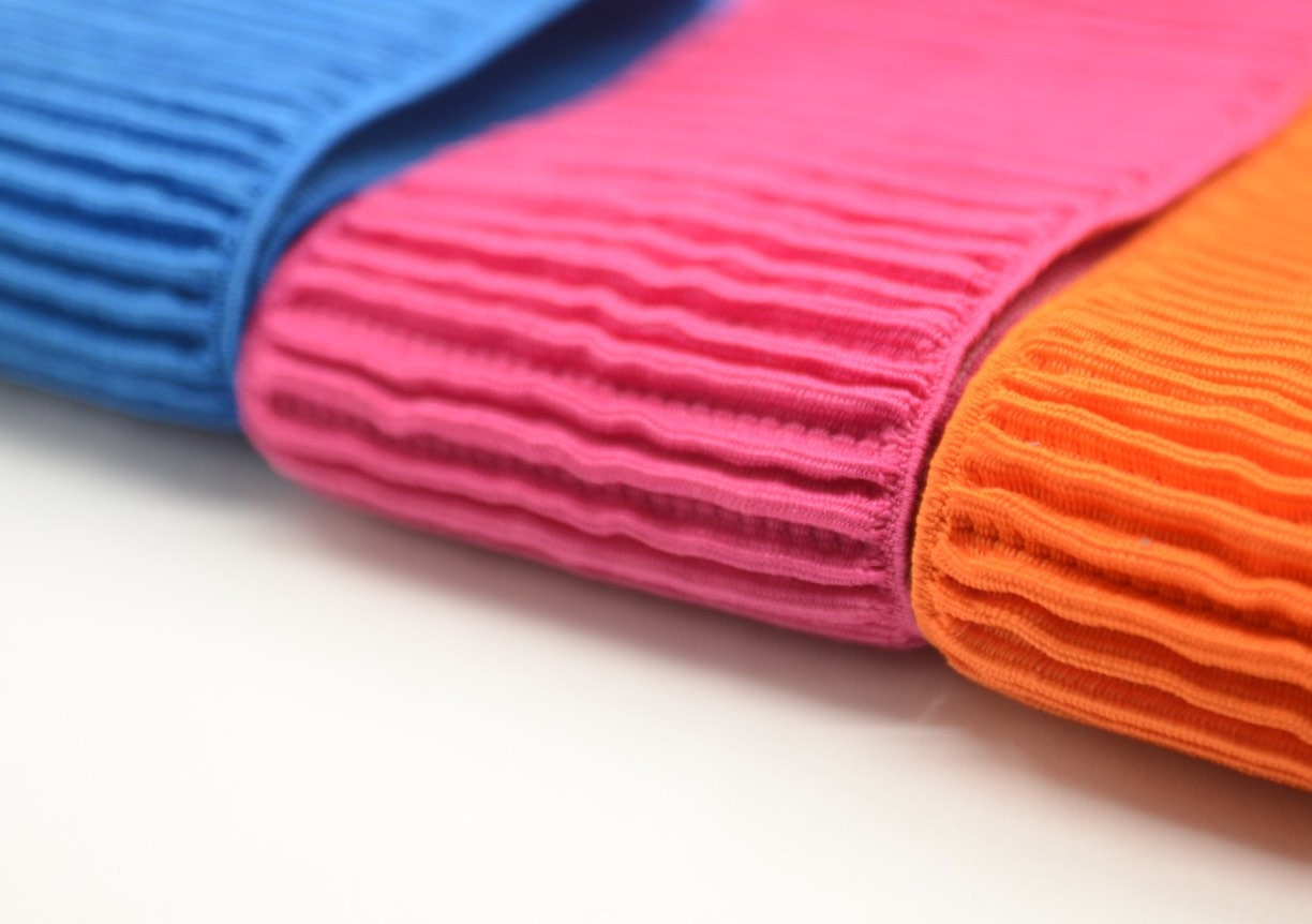 3 Inch 75 Mm Wide Ruffled Colored Elastic Band Waistband