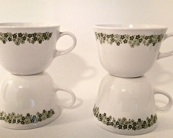 Corelle Tea or Coffee Cups Green Floral Crazy Daisy Pattern ~ Set of 4 mugs