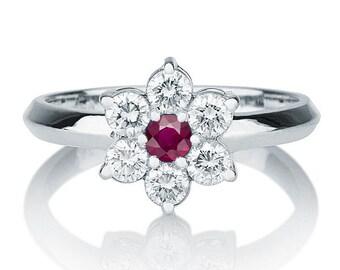 Flower Shape Ruby Ring, 14K White Gold Ring, 0.55 TCW Ruby Ring Gold, Diamond Ring Setting, Ruby Rings for Women