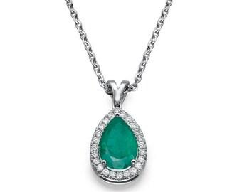 Emerald diamonds pendant, Vintage Emerald Pendant, Emerald 14k white gold pendant, Vintage Pendant,  Emerald Pendant