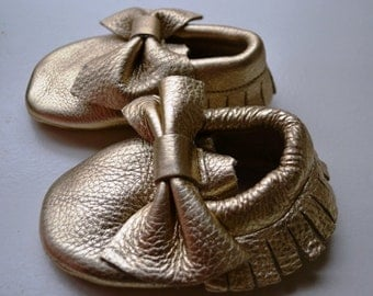 Metallic Gold Leather baby moccasin