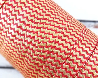 "Dark Red with Gold Metallic Chevron 5/8"" Fold Over Elastic 1, 3 or 5 yards"