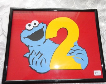 cookie monster  framed photo