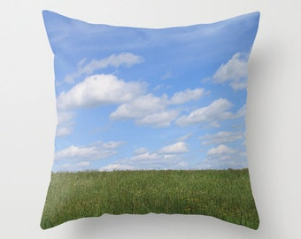 Big Sky, Pillow Cover, 16x16,18x18,20x20,home decoration,blue,clouds,green,white,landscape,sky,Rustic,interior design,country living,