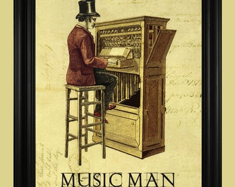 Music Man Art Print, Pipe Organ Illustration, Vintage Music Poster, Old Fashioned Piano Sign