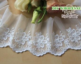 Beige Cotton Lace Trim flower embroidery lace Floral Lace Fabric Cloth TRIM Bride lace 2 yards