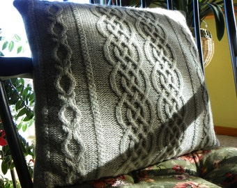 """Pattern to Knit Cabled Pillow using Sport weight wool yarn """"Divine Divan Pillow"""" PDF"""