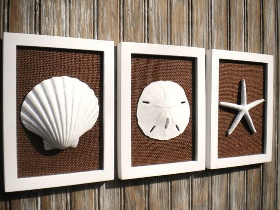 Cottage Chic Set Of Beach Wall Art Sea Shells Home Decor Beach Decor