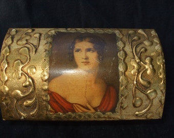 Vintage Italian Style Florentine Wooden Gilt Portrait Box , Jewel or Trinket Box