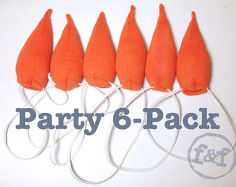 Snowman Carrot Nose, party 6 pack, christmas stocking stuffer, halloween costume, photo prop, olaf frozen party favor, upcycled from tshirt