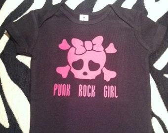 Punk Rock Girl wiith girly skull black baby one piece newborn infant baby girl bodysuit - any size