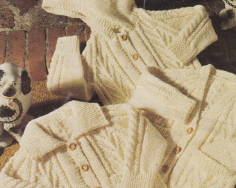 knitting pattern PDF for baby to child aran cardigans jacket and jumper boy or girl 20-28""