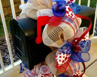 Red, White, & Blue Patriotic Deco Mesh Mailbox Wreath / Mailbox Swag / Mailbox Topper