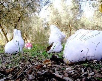 white rabbit set,  white bunny, plush bunny doll softie stuffed toy Easter bunny, birthday gift, Forest animals