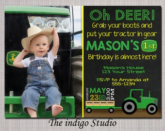 Tractor Birthday Party with or without Photo Invitation Chalkboard - Invite Card No photo option -  Personalized you Print