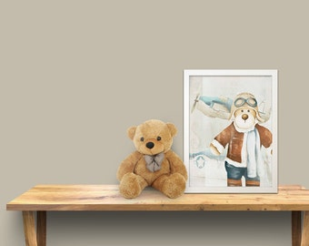Kids wall art - baby nursery decor - nursery wall art - children wall art - kids teddy bear - blue print - print teddy bear pilot 2